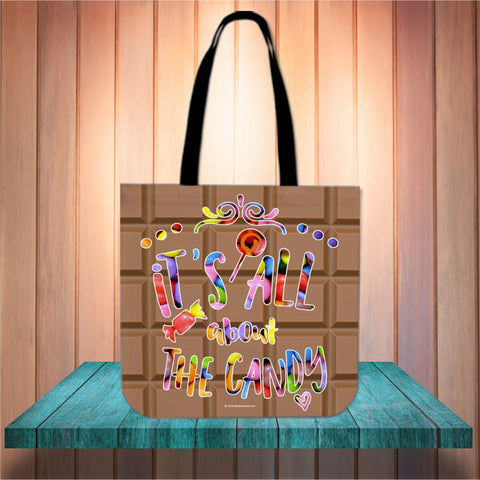 It's All About The Candy Halloween Trick Or Treat Cloth Tote Goody Bag