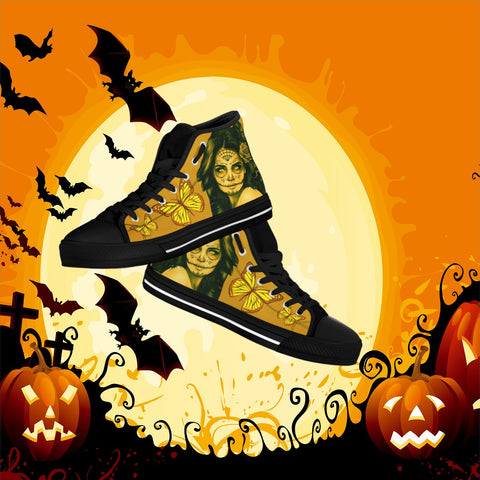 Calavera Fresh Look Design #1 Women's High Tops - Black Soles!