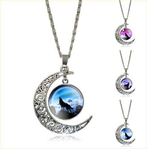 Vintage Glass Cabochon Wolf Statement Moonscape Moon Necklaces – 12 Designs