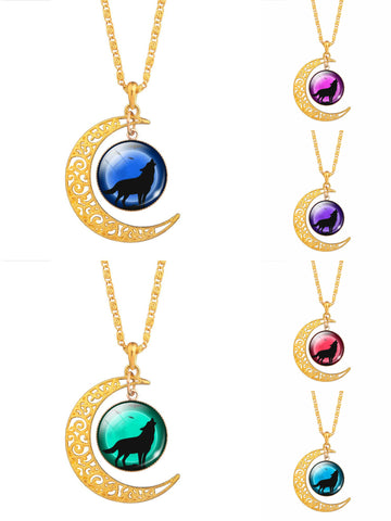 Vintage Glass Cabochon Wolf Statement Moonscape Moon Chain Necklaces For Men & Women - 6 Fun Colors