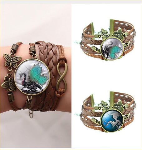 Vintage Glass Cabochon Dragon Statement Butterfly Bracelets – 2 Designs