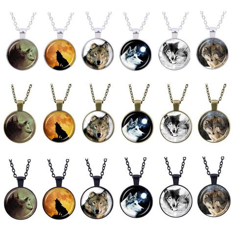 Vintage Glass Cabochon Loyalty Wolf Statement Necklaces – 18 Designs