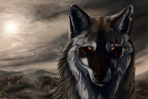 Beautiful Airbrush Wolf Under The Moon – Silk Poster Artwork – 4 Sizes Available