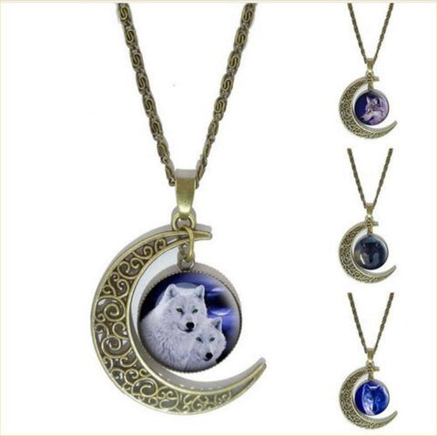 Vintage Glass Cabochon Wolf Statement Moonscape Bronze Moon Chain Necklaces For Men & Women - 21 Designs