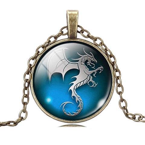 Vintage Glass Cabochon Dragon Statement Necklaces For Men & Women – 4 Designs