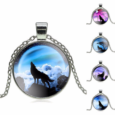 Vintage Glass Cabochon Wolf Statement Moonscape Necklaces For Men & Women – 12 Designs
