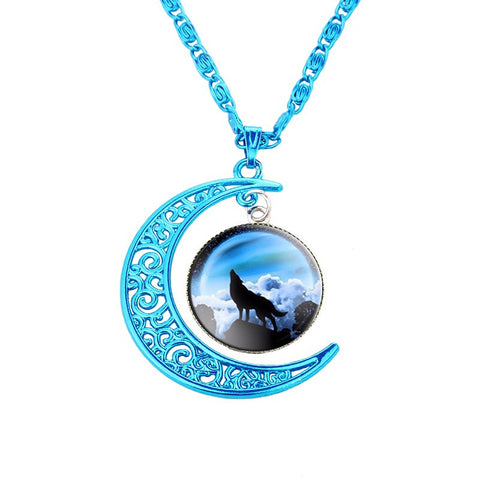Vintage Glass Cabochon Wolf Statement Moonscape Blue Chain Necklaces For Men & Women - 6 Designs