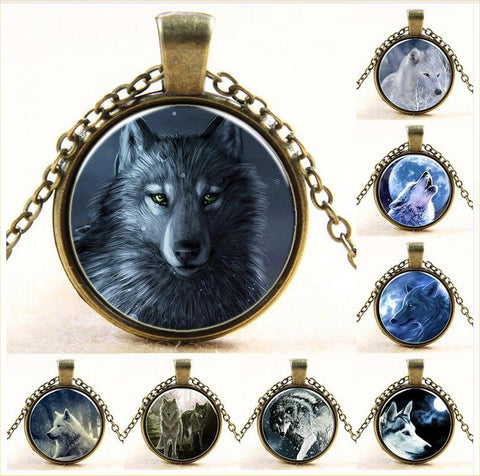Vintage Glass Cabochon Wolf Pack Statement Necklaces – 18 Designs