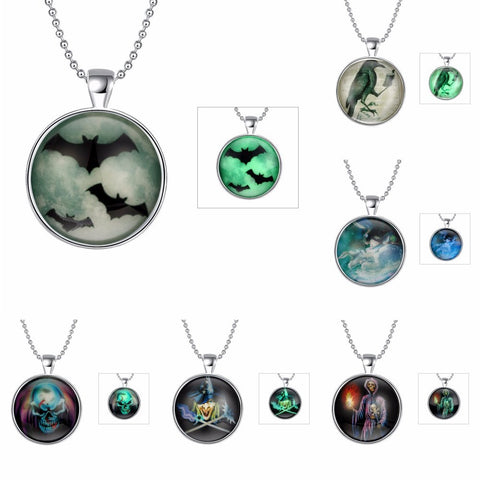 Vintage Glass Cabochon Halloween Fantasy Glow In The Dark Pendant Collection - 6 Lucky Designs