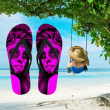 Calavera Fresh Look Design #2 Women's Flip-Flops (Pink Easy On The Eyes Rose)
