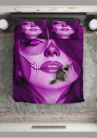 Calavera Fresh Look Design #3 Duvet Cover Set (Purple Amethyst) - FREE SHIPPING