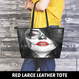 Calavera Fresh Retro Goth Look Design #4 Large Leather Tote Bag!