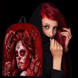 Calavera Fresh Look Design #2 Backpack (Red Freedom Rose) - FREE SHIPPING