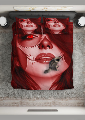 Calavera Fresh Look Design #3 Duvet Cover Set (Red Garnet) - FREE SHIPPING