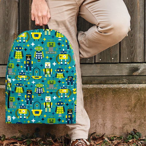 Retro Robots Backpack (Ocean Blue) - FREE SHIPPING