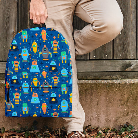 Retro Robots Backpack (Royal Blue) - FREE SHIPPING