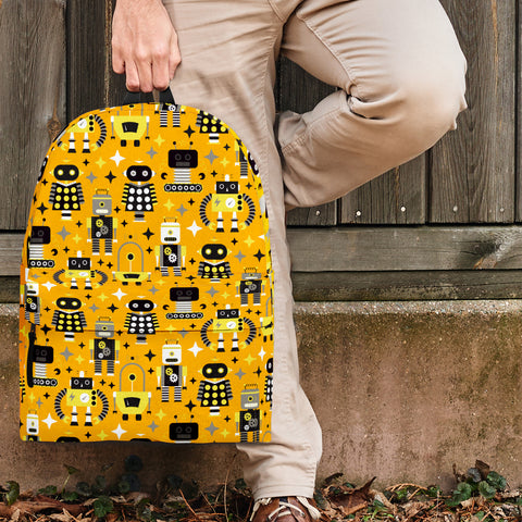 Retro Robots Backpack (Yellow)
