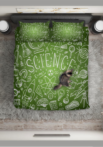 Science Chalkboard Duvet Cover Set (Green) - FREE SHIPPING
