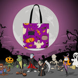 Spooky Stuff Halloween Trick Or Treat Cloth Tote Goody Bag (Purple)