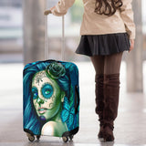 Calavera Fresh Look Design #2 Luggage Cover (Turquoise Tiffany Rose) - FREE SHIPPING