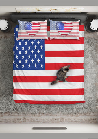 USA Flag Duvet Cover Set (Design #2) - FREE SHIPPING