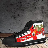 England Soccer Fan Men's High Tops - Black Soles - FREE SHIPPING