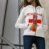 England Soccer Fan Zip Up Hoodie (Red Text) - FREE SHIPPING