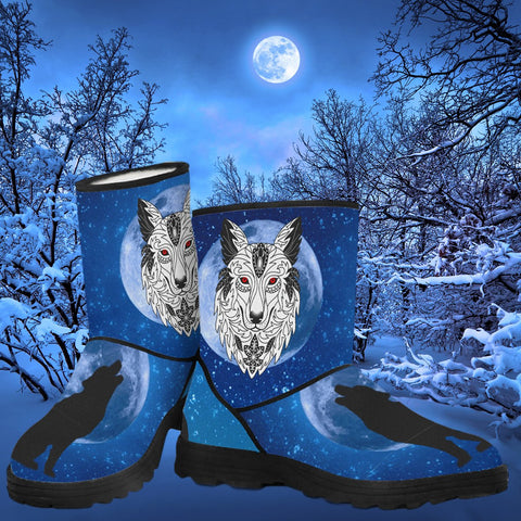 Animal Print Wolf Design Faux Fur Boots!