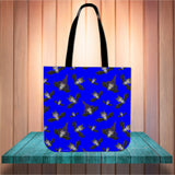 Witch Bats Halloween Trick Or Treat Cloth Tote Goody Bag (Blue)