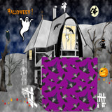 Witch Bats Halloween Trick Or Treat Cloth Tote Goody Bag (Purple)