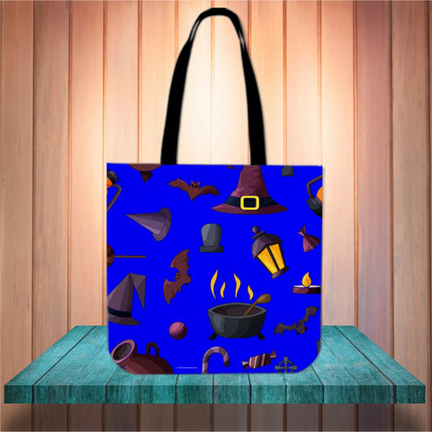 Witch's Stuff Halloween Trick Or Treat Cloth Tote Goody Bag (Blue)