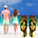 Calavera Fresh Look Design #2 Women's Flip-Flops (Yellow Smiley Face Rose)