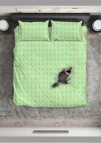 Yellow Rabbits Design #1 Duvet Cover Set (Light Green, Beige Underside) - FREE SHIPPING