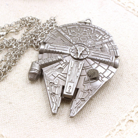 Star Wars Millennium Falcon Vintage Silver Metal Fighter Plane Pendant