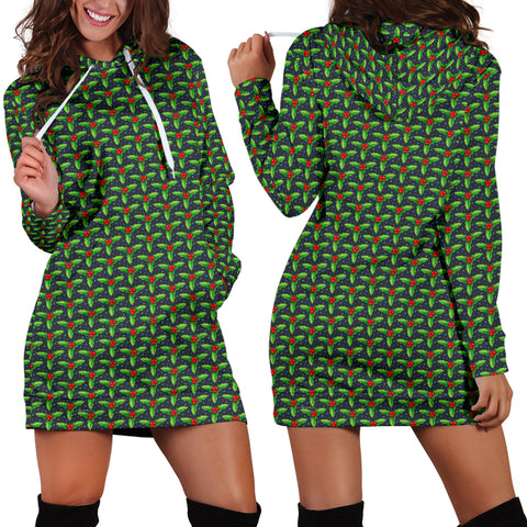 Ugly Christmas Sweater Hoodie Dress - Mistletoe Design #1 (Green) - For Small To Plus Size Divas - FREE SHIPPING