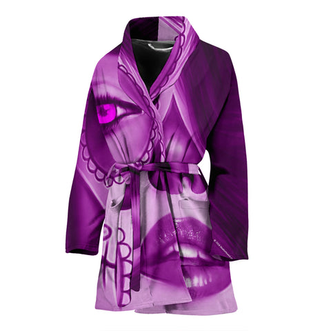 Calavera Fresh Look Design #3 Women's Bathrobe (Purple Amethyst) - FREE SHIPPING