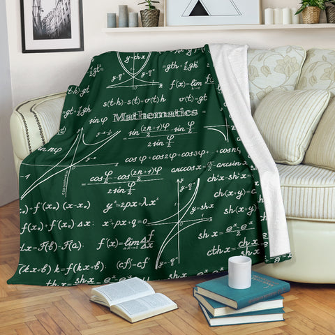 Mathematica Chalkboard Design #1 Throw Blanket (Green) - FREE SHIPPING