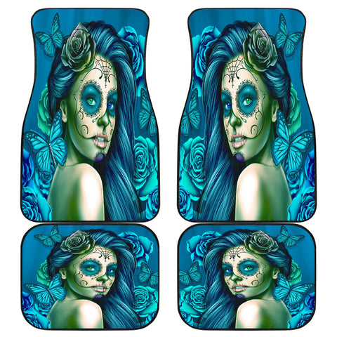 Calavera Fresh Look Design #2 Car Floor Mats (Turquoise Tiffany Rose, Front & Back) - FREE SHIPPING