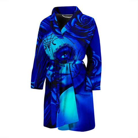 Calavera Fresh Look Design #2 Men's Bathrobe (Blue Elusive Rose) - FREE SHIPPING