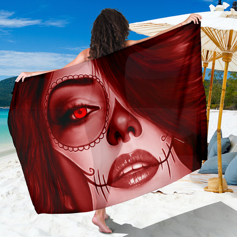 Calavera Fresh Look Design #3 Sarong (Red Garnet) - FREE SHIPPING