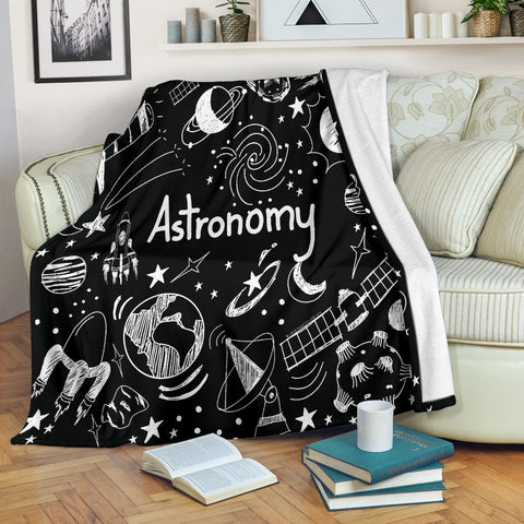 Astronomy Chalkboard Throw Blanket (Black) - FREE SHIPPING