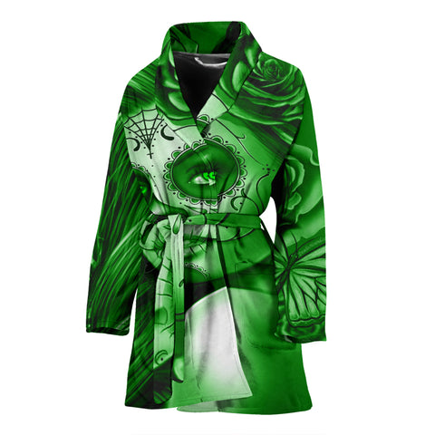 Calavera Fresh Look Design #2 Women's Bathrobe (Green Lime Rose) - FREE SHIPPING