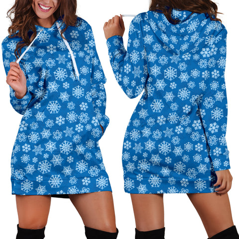 Ugly Christmas Sweater Hoodie Dress - Snowflakes Design #3 (Blue) - For Small To Plus Size Divas - FREE SHIPPING