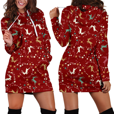 Ugly Christmas Sweater Hoodie Dress - Flying Reindeer Design #1 (Red) - For Small To Plus Size Divas - FREE SHIPPING