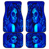 Calavera Fresh Look Design #2 Car Floor Mats (Blue Elusive Rose, Front & Back) - FREE SHIPPING