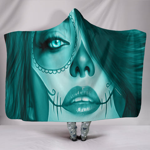 Calavera Fresh Look Design #3 Hooded Blanket (Ice Blue Aquamarine) - FREE SHIPPING