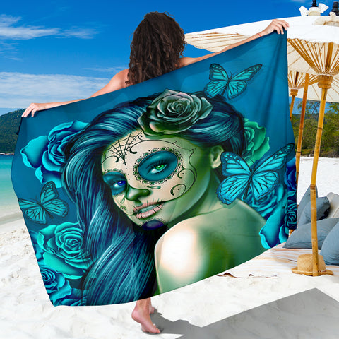 Calavera Fresh Look Design #2 Sarong (Turquoise Tiffany Rose) - FREE SHIPPING