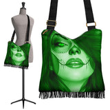 Calavera Fresh Look Design #3 Cross-Body Boho Handbag (Green Emerald) - FREE SHIPPING