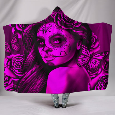 Calavera Fresh Look Design #2 Hooded Blanket (Pink Easy On The Eyes Rose) - FREE SHIPPING
