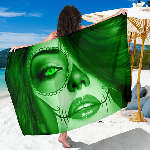 Calavera Fresh Look Design #3 Sarong (Green Emerald) - FREE SHIPPING
